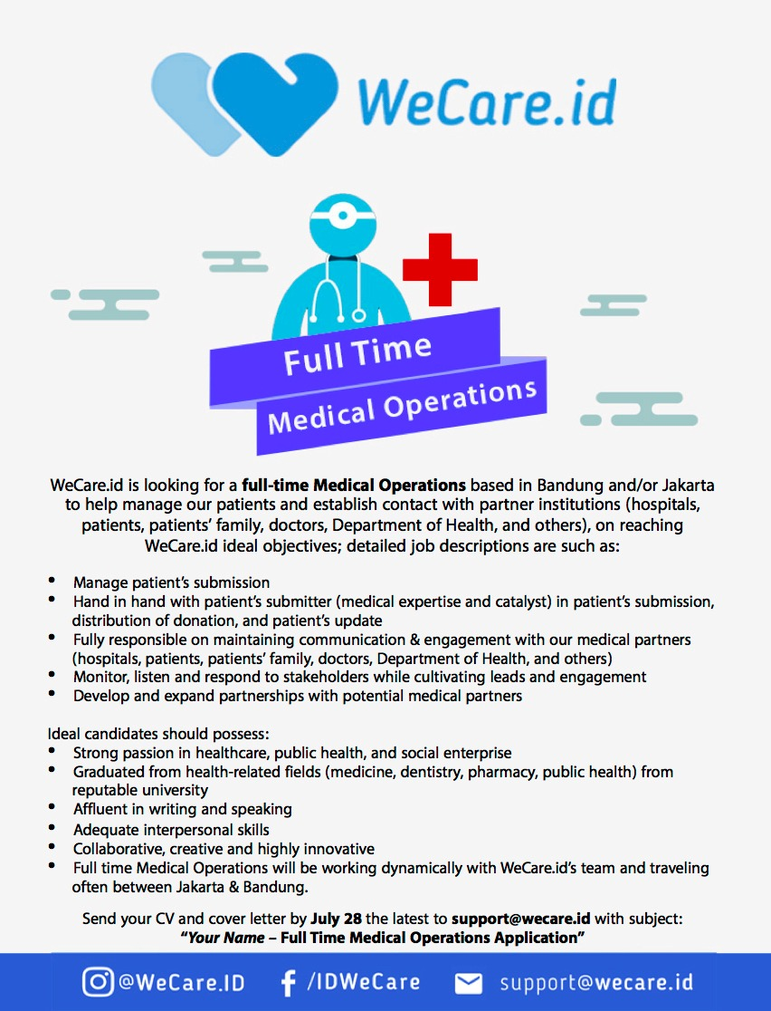 WeCare.id is looking for a full-time Medical Operations!